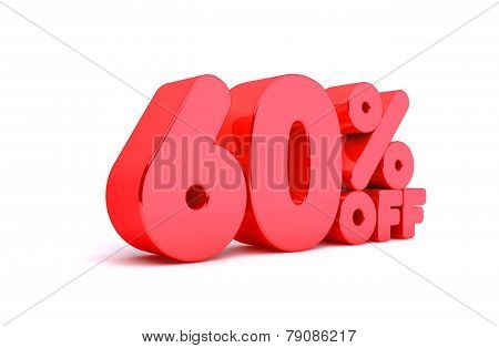 60% Off 3D Render Red Word Isolated in White Background
