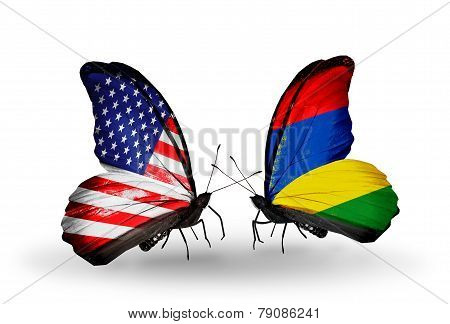 Two Butterflies With Flags On Wings As Symbol Of Relations Usa And Mauritius