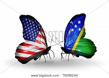 Two Butterflies With Flags On Wings As Symbol Of Relations Usa And Solomon Islands