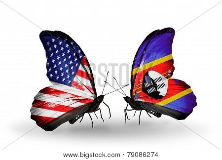 Two Butterflies With Flags On Wings As Symbol Of Relations Usa And Swaziland