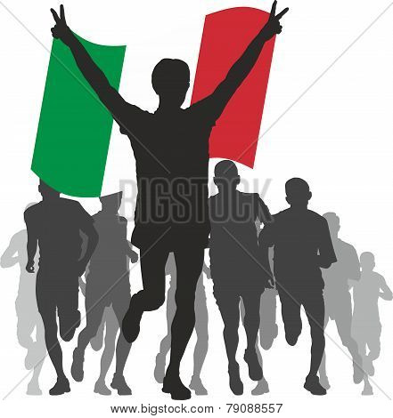 Winner with the Italy flag at the finish