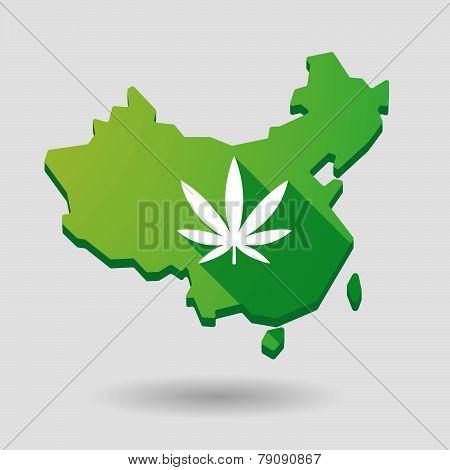 China Map Icon With A Marijuana Leaf