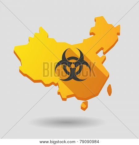 China Map Icon With A Biohazard Sign