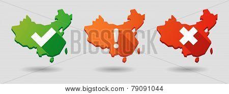 China Map Survey  Icon Set