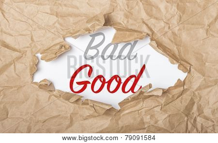 Good And Bad Words On Paper And Torn Cardbox