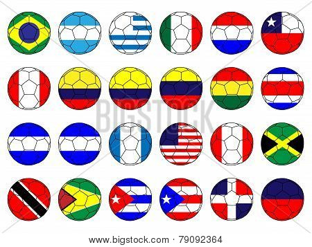 Soccer Balls With Flags Of The Americas