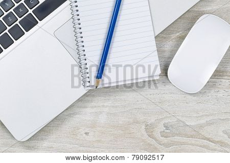 Business Objects On Wooden White Desktop