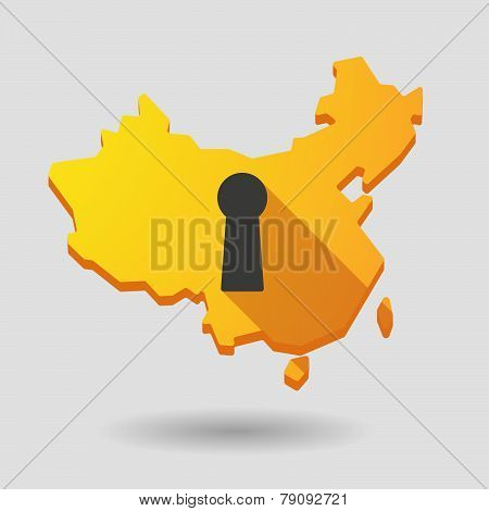China Map Icon With A Key Hole