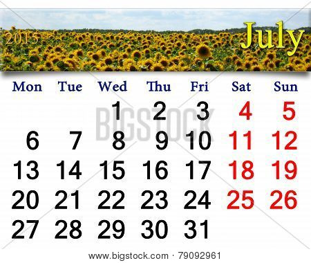 Calendar For July Of 2015 With Field Of Sunflowers