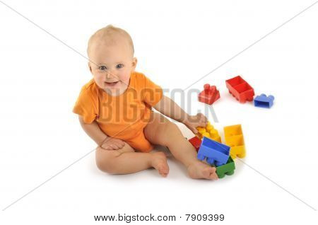 Baby with block