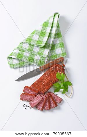 Hunter's salami - hard salami containing pork and beef, seasoned with pepper
