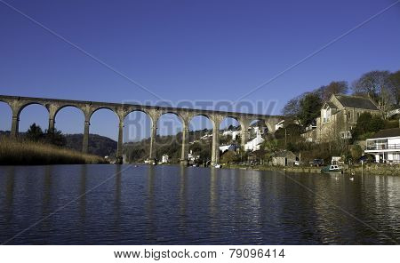 Calstock on the banks of the river Tamar in south-east Cornwall