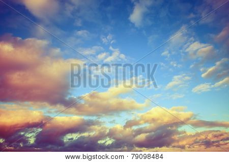Colorful Cloudy Sky, Toned Photo Background
