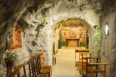 """picture of cave  - BUDAPEST HUNGARY - DECEMBER 1 2014: Gellert Hill Cave Church Budapest Hungary. The cave is also referred to as """"Saint Ivan"""