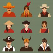 pic of indian culture  - vector different characters pirate - JPG