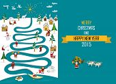 foto of eskimos  - Cute eskimos characters celebrating Christmas and New Year holidays in a snowy landscape with a river in tree form - JPG