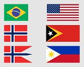picture of civil war flags  - Brazilian American Norwegian East Timorese and Philippine flags - JPG