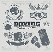 image of knockout  - Boxing labels and banners set - JPG