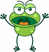 image of bulge  - Cute green frog with bulging eyes and long legs while frowning - JPG