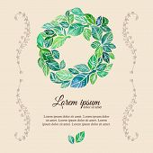 image of flourish  - Decorative flourish template with watercolor wreath of green leaves and doodle floral frame - JPG