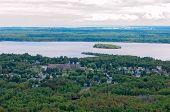 stock photo of spirit  - Aerial of Morgan Park neighborhood and Spirit Lake surrounding Spirit Island in Duluth Minnesota - JPG