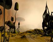 picture of fantasy landscape  - 3d Digitally rendered illustration of an alien science fiction desert landscape dotted with giant mushrooms or toadstools and twisted rock formations in the mist - JPG