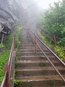 picture of bannister  - foggy scenery including a stairway to a mountain in Sri Lanka named Adam - JPG