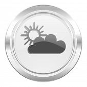 cloud metallic icon waether forecast sign  poster