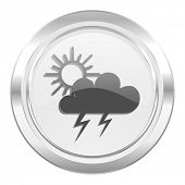 storm metallic icon waether forecast sign  poster