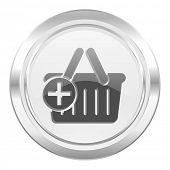 stock photo of cart  - cart metallic icon shopping cart symbol  - JPG