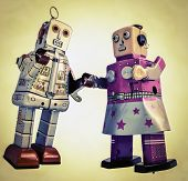 Photo of two robots in love.