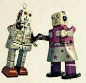 Photo of two romantic robots.
