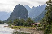 Постер, плакат: Nam song river Vang Vieng Laos