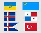 stock photo of tatar  - Crimean Tatar Ukrainian Icelandic Panamanian and Turkish flags - JPG