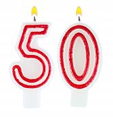 foto of fifties  - Birthday candles number fifty isolated on white background - JPG