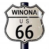 stock photo of winona  - Winona Route 66 traffic sign over a white background and the legend ROUTE US 66 - JPG