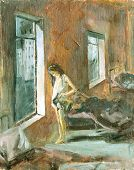 image of pre-adolescent girl  - Sketch of the painting brush and oil - JPG
