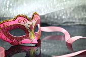 picture of venice carnival  - Vintage carnival mask in front of glittering background - JPG