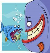 stock photo of proverb  - Cartoon Humor Concept Illustration of Bigger Fish Saying or Proverb - JPG