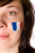 French Supporter, Half Face Portrait With Flag On Her Cheek
