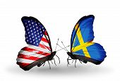 picture of sweden flag  - Two butterflies with flags on wings as symbol of relations USA and Sweden - JPG