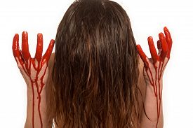 image of life after death  - woman after performing abortion with her hands in blood - JPG