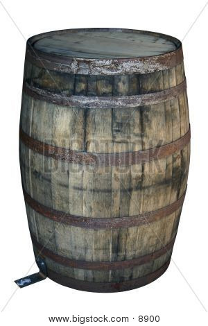 Water Damaged Barrel Isolated On White