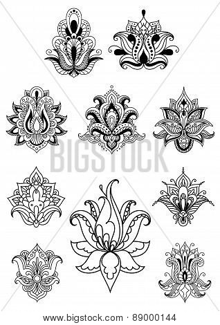 Persian or indian paisley flowers set
