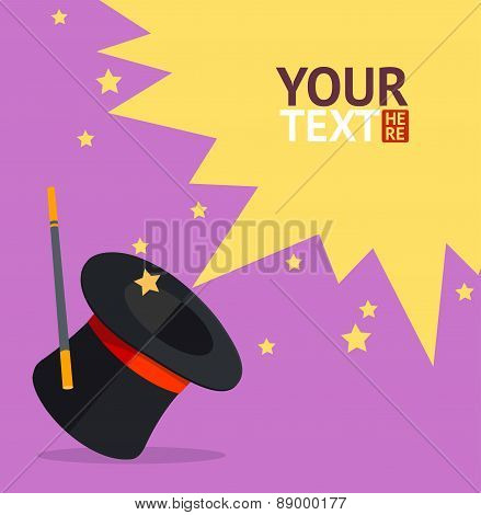 Vector magic hat background for text