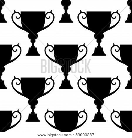 Trophy cup silhouettes seamless pattern