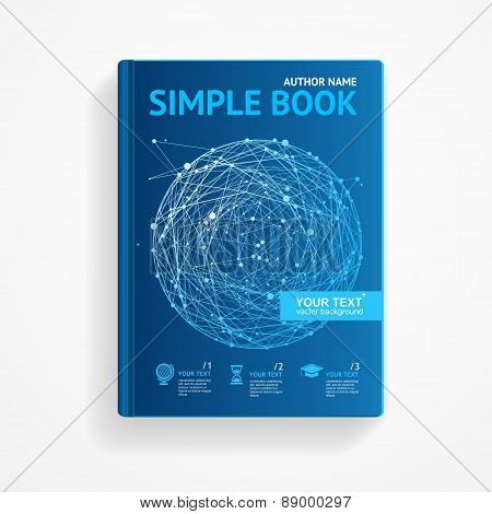 Vector science book with abstract sphere. Flat Design