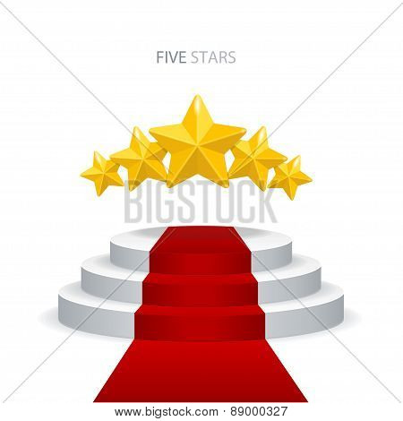 Vector podium with red carpet and stars