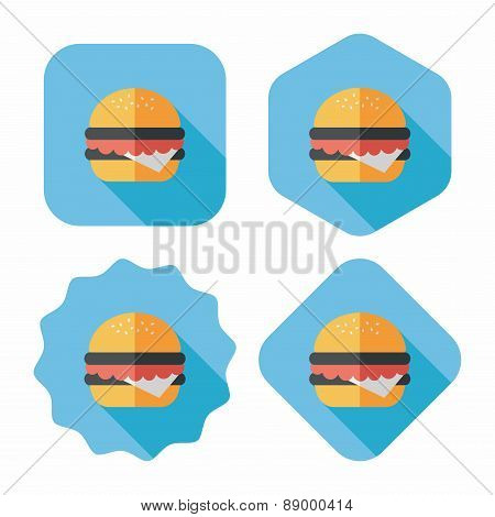 Sandwich Flat Icon With Long Shadow,eps10