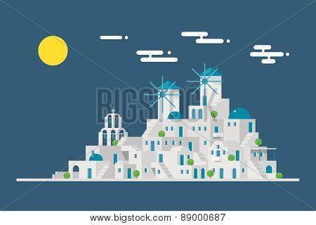 Santorini Cityscape Windmill Village Island